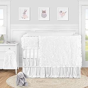 Sweet Jojo Designs White Floral Vintage Lace Baby Girl Nursery Crib Bedding Set – 5 pieces – Solid Crinkle Crushed Velvet Luxurious Elegant Princess Boho Shabby Chic Luxury Glam Flower Boutique Ruffle