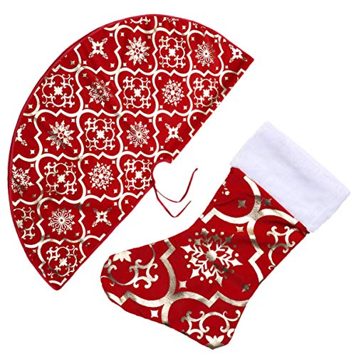 BESPORTBLE Christmas Tree Skirt Apron Mat Decoration Xmas Tree Apron Skirt Base Mat Dress Up Props for Party Home 120cm/47Inch (Red)