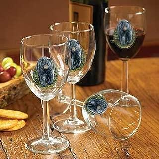 Black Bear White Wine Glasses by Rosemary Millette
