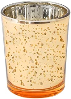 GB HOME COLLECTION Votive Tea Light Candle Holder, Speckled Gold Metallic Finish, Lead Free Thick Mercury Glass, Set of 75, 2