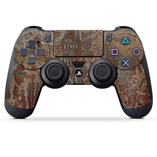 DeinDesign Skin kompatibel mit Sony Playstation 4 PS4 Controller Folie Sticker Rost Metal Metallic Look