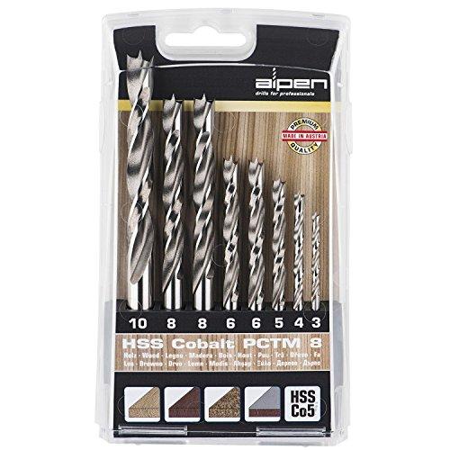 ALPEN Holzspiralbohrer Kassette PCTM 8 HSS Cobalt Bohrer, Durchmesser 3-8 mm, 8-teilig, 1 Stück,63300008100