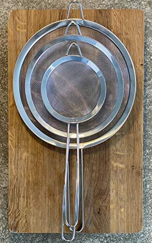 eaBase Küchensieb feinmaschig, Set in 3 Größen 12cm / 16cm / 18cm, verstärkter Griff