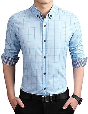 ERZTIAY Men's Formal Business Plaid Slim Fit Long Sleeve Dress Shirts