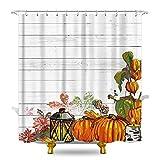 KOMLLEX Watercolor Kürbis-Duschvorhang 152 x 183 cm (B x H), Ecke, mit Ahorn-Blume, Lampe, Stoff, wasserdichtes Polyester, mit 12 Kunststoffhaken