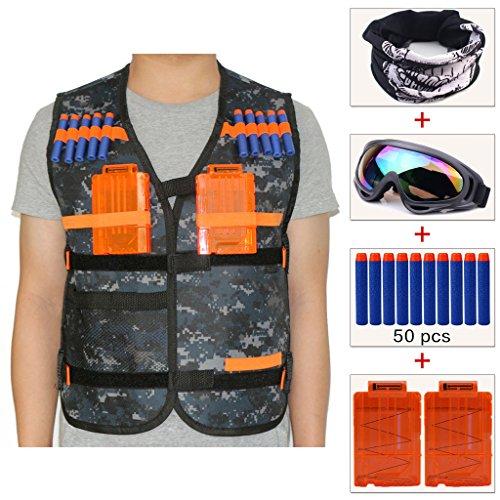 Cosoro Kids Camuflaje de táctico chaleco Chaqueta Kit para pistola de juguete de Nerf N-strike Elite serie(con 50 dardos+gafas protectoras+Máscara+2 de 5 dardos de clip de liberación)