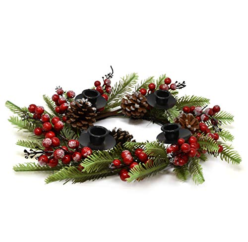 Gift Boutique Traditional Christmas Advent Wreath Ring Candle Holder Red Berry Pine Advent Calendar Season Centerpiece Decor Advent Candle Holder Stand for 4 Xmas Tapered Candles Decorations