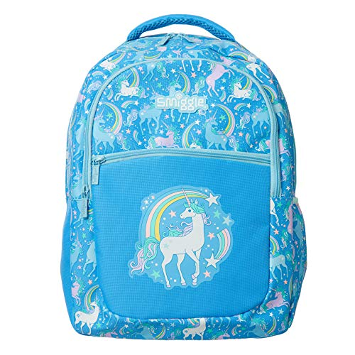 Smiggle Neat Kids School Backpack for Boys & Girls with 3 Zipped compartments and Drink Bottle Sleeve | Unicorn Print