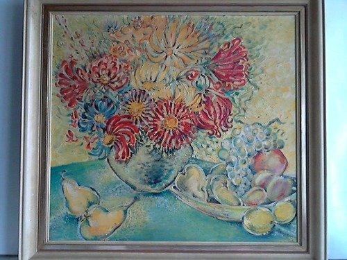 Stillleben: Bunter Blumenstrauß in Vase mit Obstschale - Öl auf Leinwand