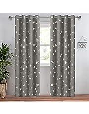 Anjee Eyelet Blackout Silver Stars Curtains