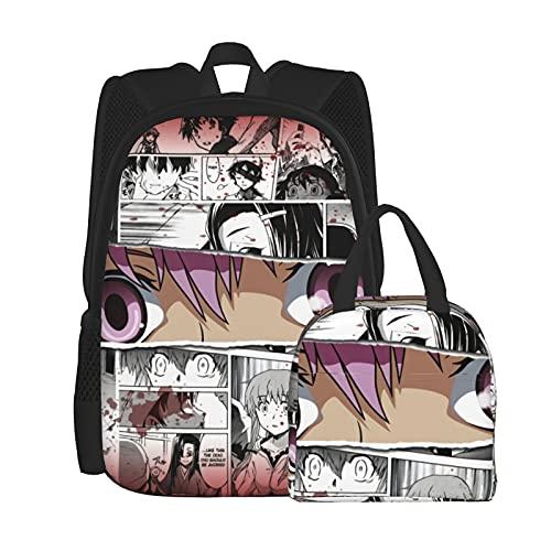 Fu&Ture&Dia Ry& Mochila casual para niña, mochila clásica básica al aire libre, elegante mochila 3d impresa, con kit de contenedores de almuerzo aislado para trabajo, viajes, regalo, estudio