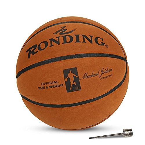 Felenny Baloncesto de cuero de vaca de baloncesto tamaño oficial 7 pelota de baloncesto con aguja de inflación para el entrenamiento interior al aire libre practicando uso