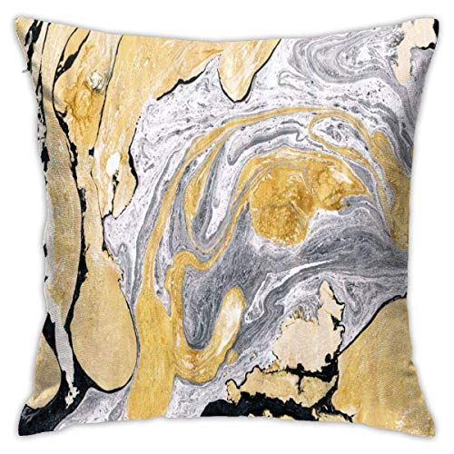 Beautiful Golden Silver Ink Marble Texture Throw Pillow Covers Decorative 18x18 Inch Pillowcase Square Cushion Cases for Home Sofa Bedroom Livingroom