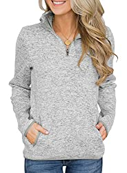 Dokotoo Casual 1/4 Zip Long Sleeve V Neck Sweatshirt for Women Made of Quality and Lightweight Fabrics, Comfy to Wear Perfect for School, Work or Just Casual Wea Easy to Pair with Jeans and Legging, or Be Worn as An undershirt with Your Jacket or Car...