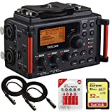 Tascam DR60DMKII Linear PCM DSLR Digital Field Recorder Bundle + 2X Cables, AA Batteries and 32GB Memory Card