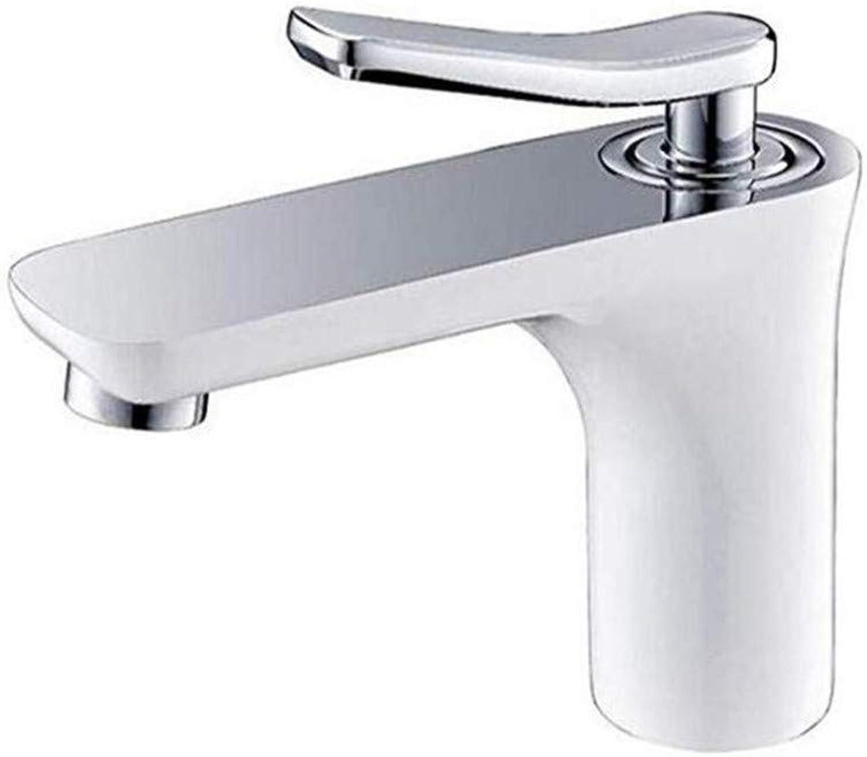 Messing-Chrom-modernes heies und kaltes Wasser- Spülbecken-Hahn-Badezimmer-Chrom plus weie Countertop-Kupfer-heier und kalter einzelner Loch-Wannenhahn