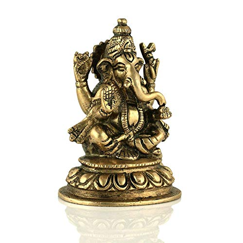 Lord Ganesha Brass Statue Hindu God Ganesh Ganpati Sitting Idol Sculpture Good Luck & Success(Size: 4 Inches)