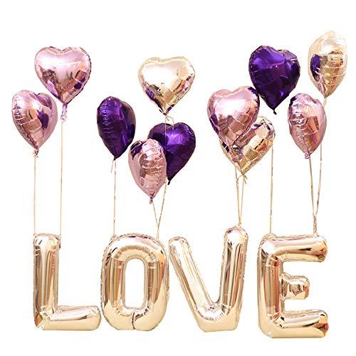 Juego de globos para boda de 30 pulgadas Amaoma, letras en forma de corazón, globos Mylar, púrpura
