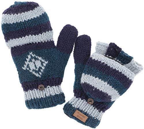GURU SHOP Handgestrickte Handschuhe, Klapphandschuhe Nepal, Wollhandschuhe, Herren/Damen, Blau, Wolle, Size:One Size, Handschuhe Alternative Bekleidung