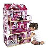 Calma Dragon Casa de Muñecas W06A101, de Madera con Muebles Incluidos, Mansion para muñecas, 3 Pisos para muñecas de 30cm, con Ascensor y 11 Accesorios.