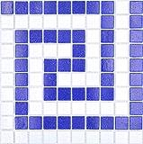 Azulejos de mosaico de cristal blanco y azul oscuro pegado de papel para piscina, mosaico de mosaico