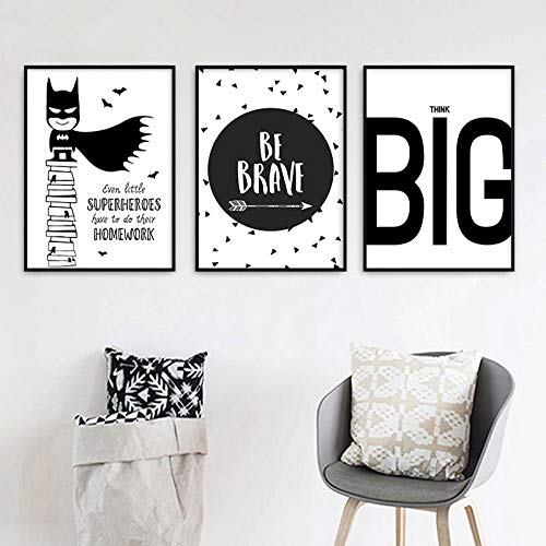 Cartoon Superhero Quotes Picture Canvas Painting Nursery Poster Wall Art Black White Print for Kids Bedroom Home Decor-40x60cmx3 piezas sin marco