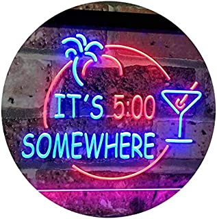It's 5 pm Somewhere Bar Beer Cocktails Dual Color LED Neon Sign Blue & Red 300 x 210mm st6s32-i2090-br