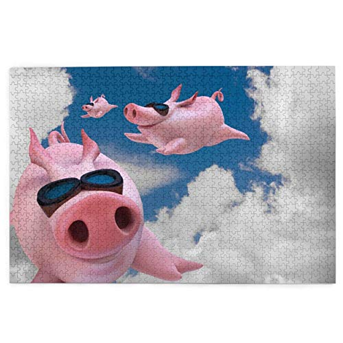 1000 Pieces Jigsaw Puzzle Funny Pig Pictures Puzzle for Adults Teens Large Wooden Puzzle Game Artwork for Home Wall Decoration Photo Frame Box Kids DIY Floor Puzzles