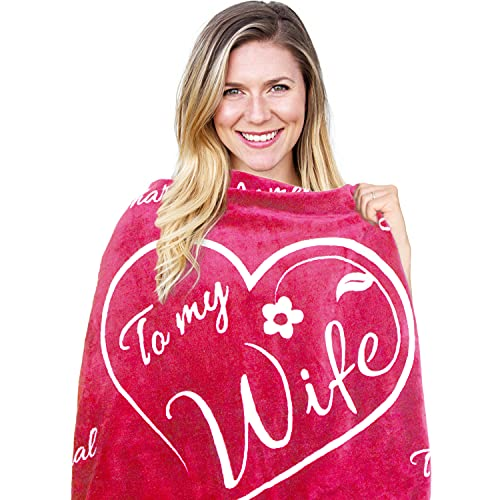 Wife Gift Blanket - I Love You Gifts for Women | Romantic Gifts for Wife Anniversary | Wife Birthday Gifts for Her from Husband for Valentines, Mothers Day or Christmas - Throw 50' x 65' (Rose Pink)