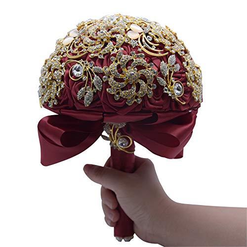 Kayard Bridal Bouquet for Bride,Artificial Silk Burgundy Wedding Brooch Bouquets,Handmade Wine Red Satin Roses Wedding Flower D647