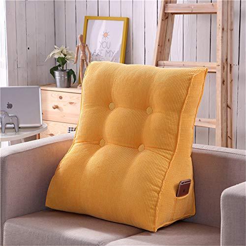 Nicole Knupfer Dreieckig Rückenkissen, Ergonomisches Lesekissen, Weich und Bequem Samt Rückenlehne Keilkissen Kissen für Bett Sofa Couch (55 x 60 cm,Gelb)