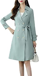Women's Solid Outwear Double Breasted Trench Coat Jacket with Belt