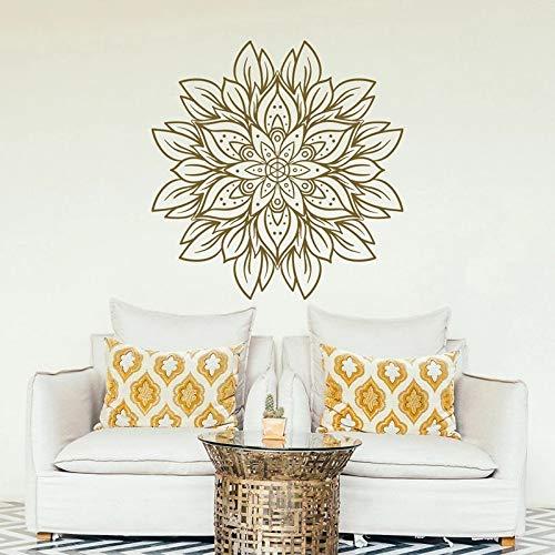 Vestido de flores de mandala de pared diseño de mandala dorado pared de vinilo para dormitorio sala de estar meditación de yoga