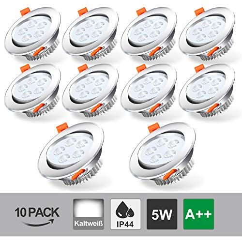 BMOT 10x 5W Luz de techo LED empotrada Blanco frío 420lm Foco 5W = 40W Bombilla 3200K Downlights para sala de estar Dormitorio Cocina Baño