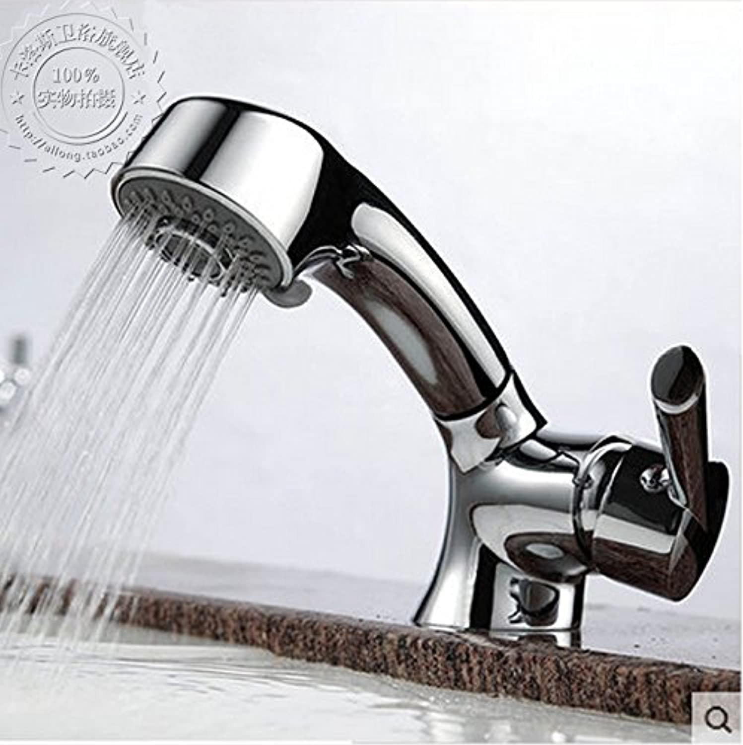 Hlluya Professional Sink Mixer Tap Kitchen Faucet Tap the full copper hot and cold pull basin