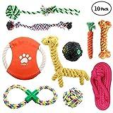 ONBET 10 unids Pet Dog Toys Durable cuerda para mascotas Chew Toy Set Material no tóxico Colores vivos diseño atractivo para perros