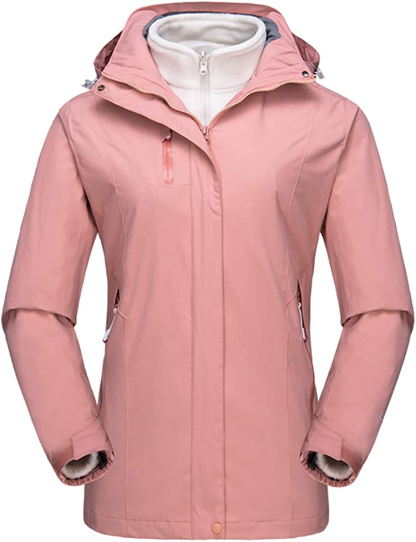 Alomoc Women's 3 in 1 Winter Hiking Jacket Waterproof Softshell Snowboard Coats with Hood