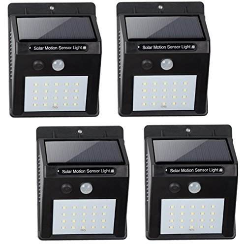 BN-LINK Outdoor On Wall Solar Powered Light, Motion Sensor Infrared, 20 LED (450 Lumen), Wireless Waterproof Heatproof Security Wall Light, Auto On/Off (4 Pack) Value Pack