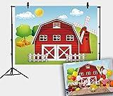 Daniu Telón de fondo de 2,1 x 1,5 m, diseño de animales de granja, casa roja, granja, molino de viento, telón de fondo para niños, fiesta de cumpleaños para fotografía, decoración de fotomatón