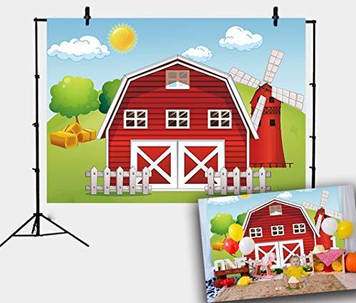 Daniu - Fondo de pared con diseño de animales de granja de 7 x 5 pies, color rojo