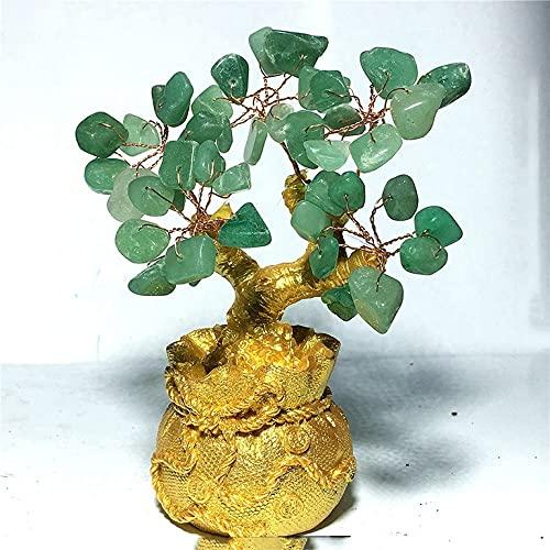 FVDS Árbol de Afortunado de Cristal de Cuarzo Natural, árbol de Dinero Feng Shui Adornos para Buena Suerte, Riqueza casa decoración de Oficina Regalo Espiritual (Color : Light Green)