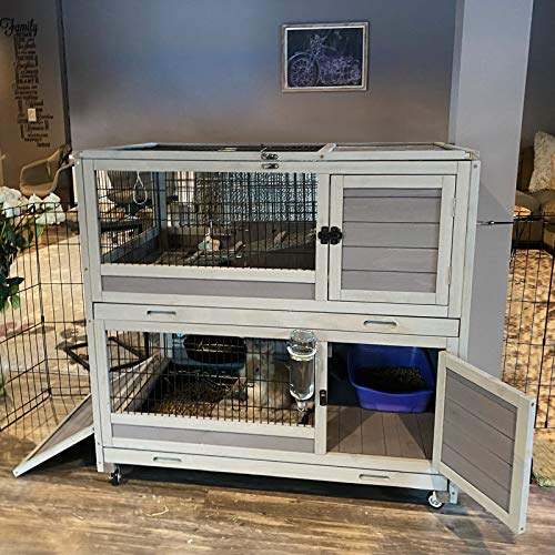 GUTINNEEN Bunny Hutch Indoor Rabbit Hutch Large Guinea Pig Cage with Wheel, Outdoor Rabbit Cage with Removable Bottom Wire Floor