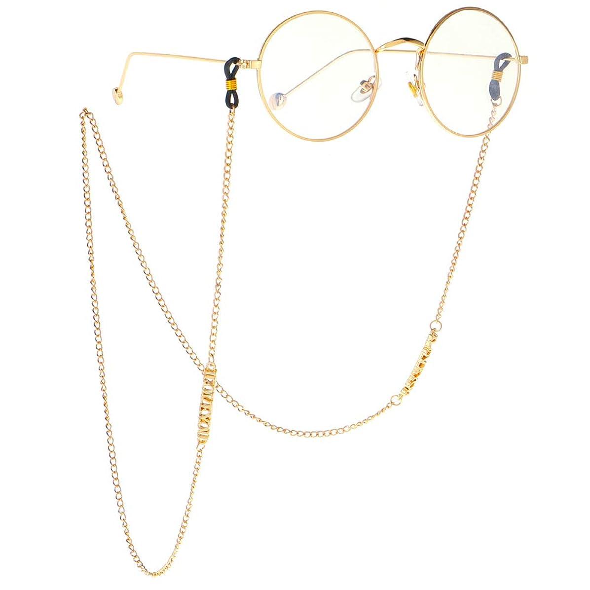 領収書食欲二層メガネチェーン 手紙私はあなたを愛してメガネチェーンファッションメガネチェーンとコード用女性サングラスホルダーストラップストラップ