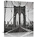 Big buy store Oil Painting Decoration on Canvas Brooklyn Bridge Landscapes Print Wall Picture Artworkfor Living Room Bathroon Office Home Decoration Modern Black -8x8 inch