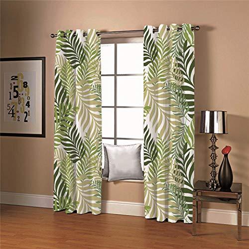 cortinas salon hojas verdes