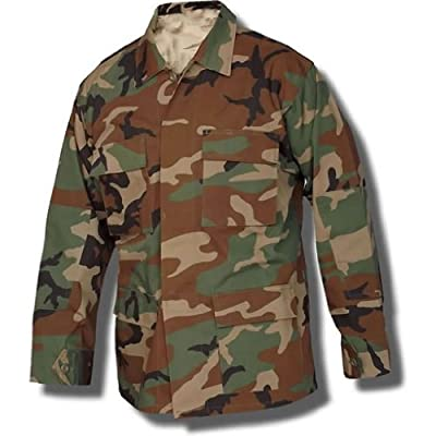 USA Army Surplus BDU Coat - Shirt; Woodland Camouflage Size Medium X-Short