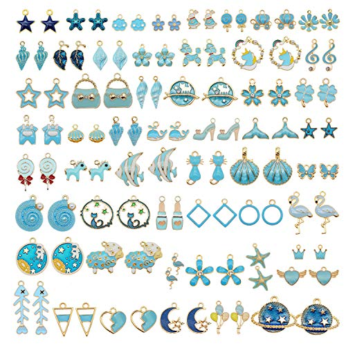 60Pcs 30 Pairs Mixed Enamel Blue Theme Charms Pendants for Jewelry Making Bulk lot Necklace Earrings Bracelet Craft Findings