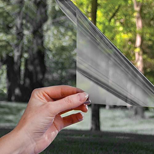 Fensterfolie Spiegelfolie Selbsthaftend Sichtschutzfolie Außen und Innen Sonnenschutzfolie für Fenster Folie für Haus/Büro 45/75/90 * 300cm (75x300cm, Schwarz-Grau)