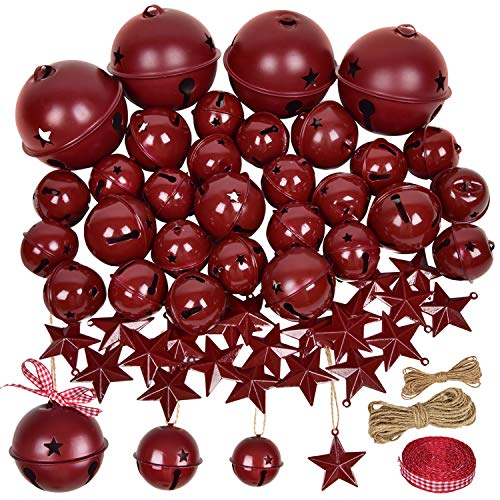 DearHouse 50 Pcs Burgundy Christmas Jingle Bells with Metal Barn Stars Christmas Metal Sleigh Bells Rustic Craft Bells for Christmas Tree Wreath Garland Ornaments Holiday DIY Decorations