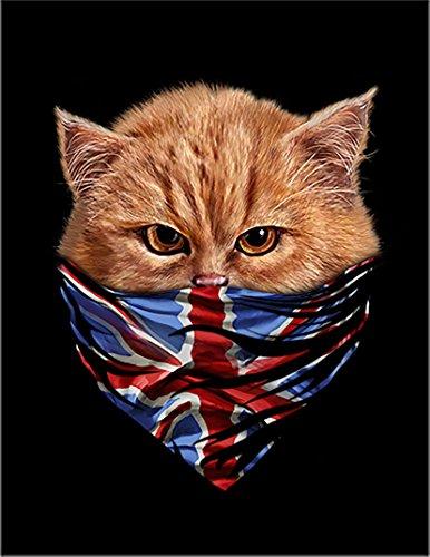 【猫 ねこ バンダナ ユニオンジャック】 余白部分にオリジナルメッセージお入れします!ポストカード・はがき(黒背景)